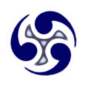 Bl&umml;roof Logo: modified Tomoe mon.